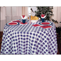 Converting Blue Gingham Table Cover 82 Round